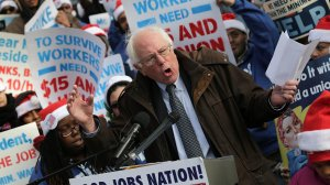 Bernie Sanders (I-VT) campaigning for a higher minimum wage