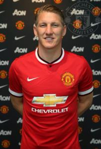 Bastian Schweinsteiger in a Manchester United kit shortly after his signing
