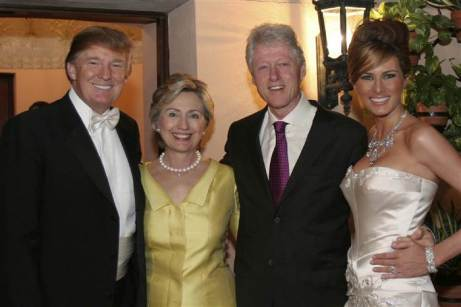 Hillary Rodham Clinton and Bill Clinton at Donald Trump's wedding in 2005